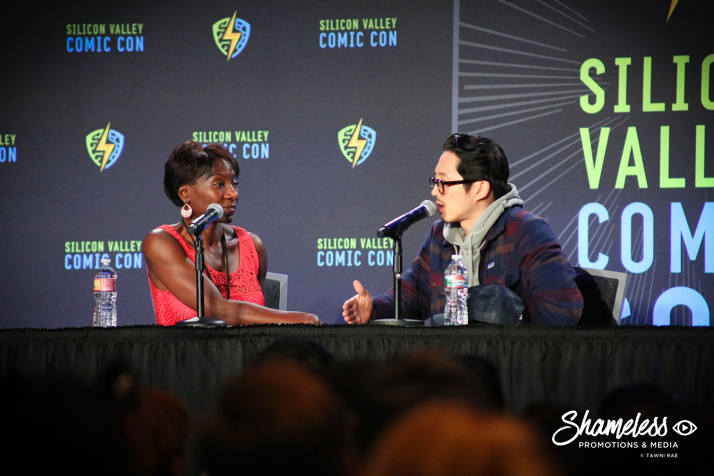 Jeryl Prescott and Steven Yeun at Silicon Valley Comic Con. April 22, 2017. Photo Credit: Tawni Kuhn.