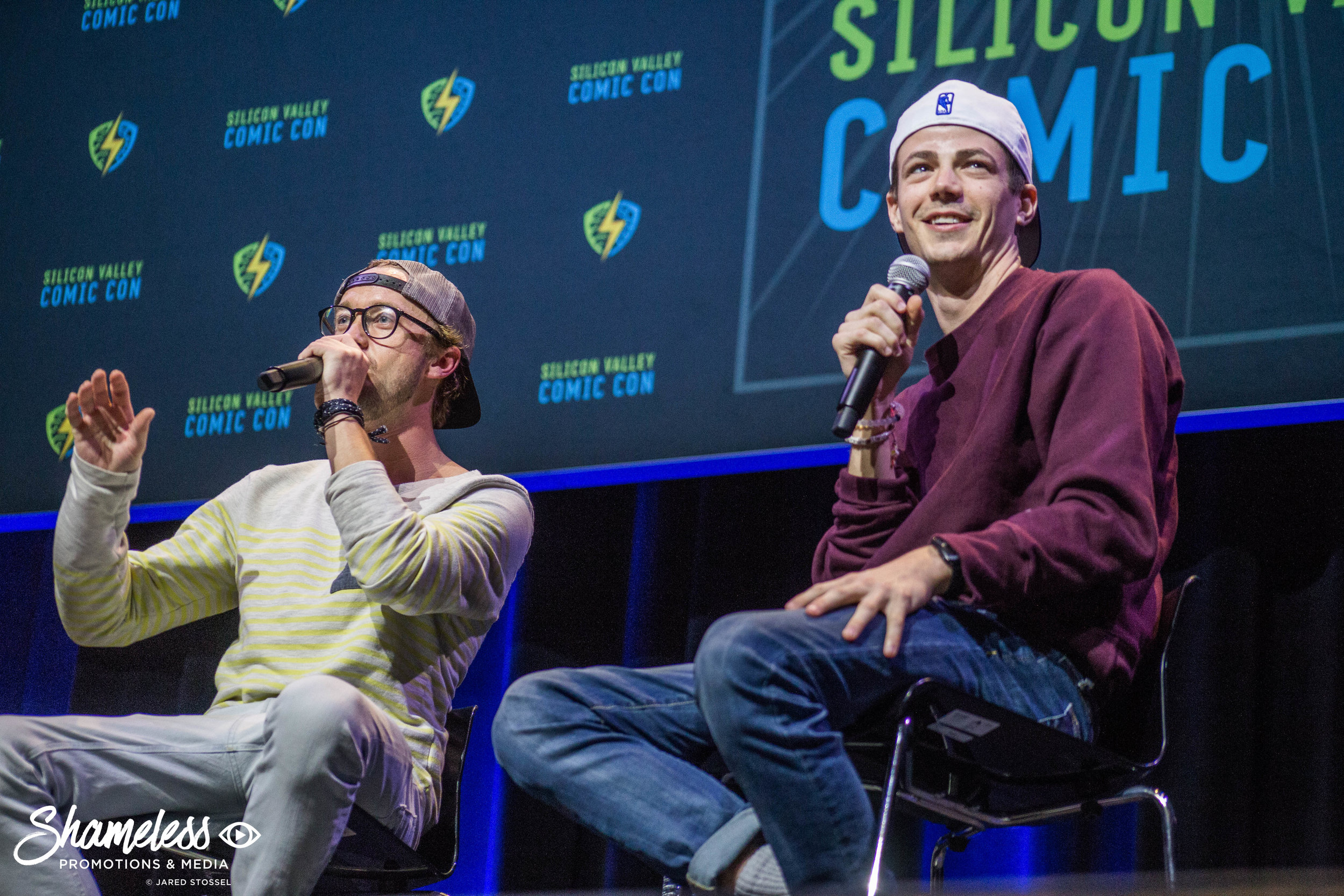 Tom Felton and Grant Gustin appearing at The Flash panel at Silicon Valley Comic Con. April 23, 2017. Photo Credit: Jared Stossel.