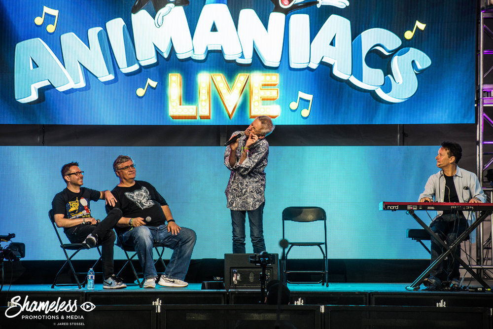 (From left to right) Chris Hardwick, Maurice LaMarche, Rob Paulsen, and Randy Rogel at the 'Animaniacs Live!' Panel at ID10T Fest in Mountain View, CA. Photo: Jared Stossel