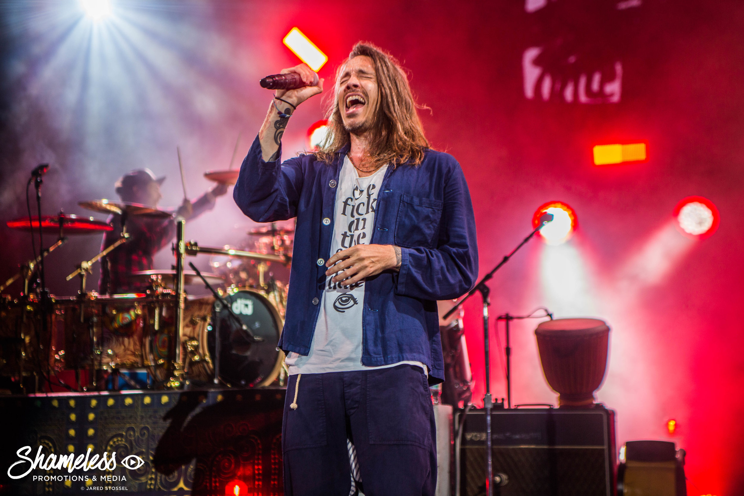 Brandon Boyd of Incubus performing at Shoreline Amphitheater in Mountain View, CA. August 16, 2017. Photo: Jared Stossel