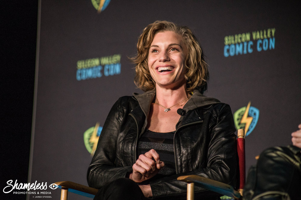 Katee Sackhoff speaking at SVCC 2018. Photo Credit: Jared Stossel.