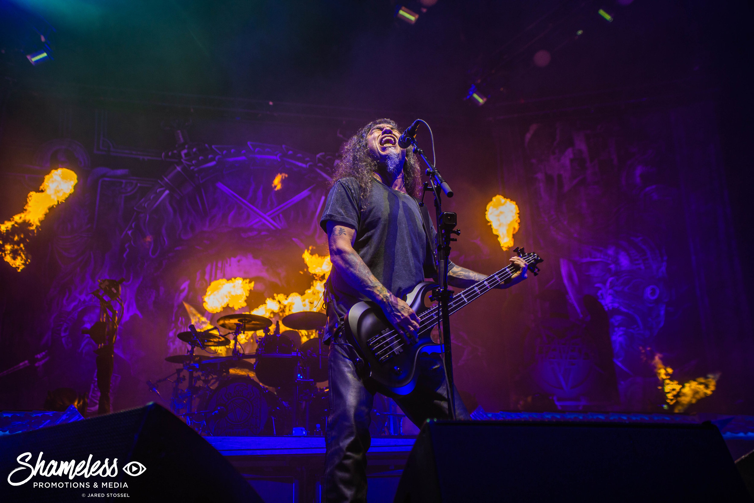 Tom Araya of Slayer performing at their final North American show at SAP Center in San Jose, CA. August 26, 2018. Photo Credit: Jared Stossel