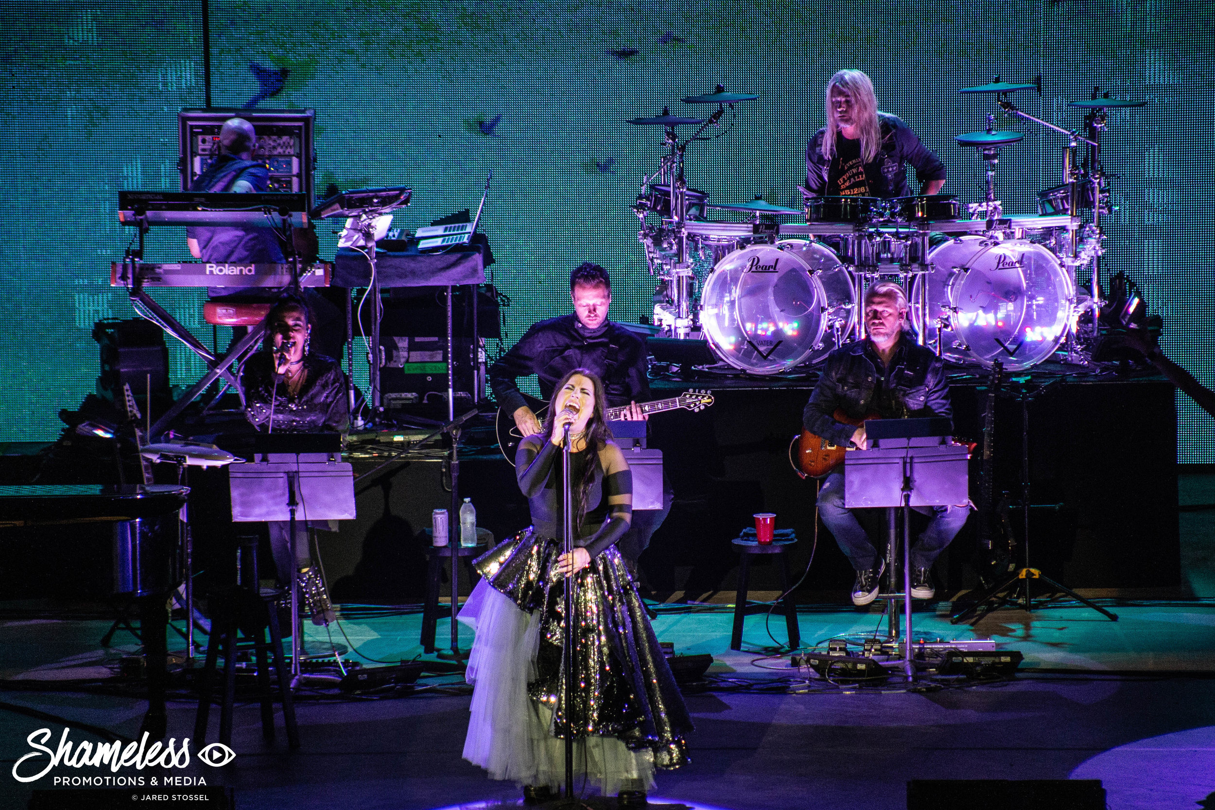 Evanescence performing at Shoreline Amphitheatre in Mountain View, CA. September 5, 2018. Photo Credit: Jared Stossel.