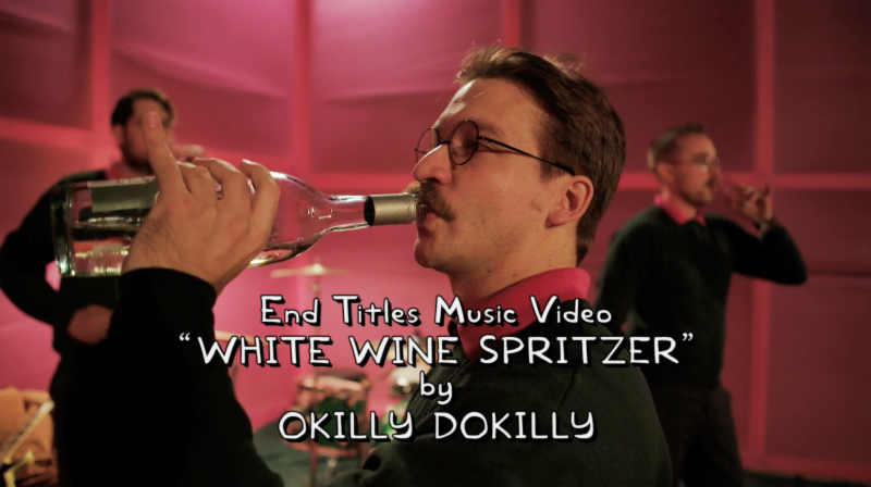 Okilly Dokilly performing 'White Wine Spritzer' in the end credits of last Sunday's 'Simpsons' episode. Photo courtesy of FOX Animation.