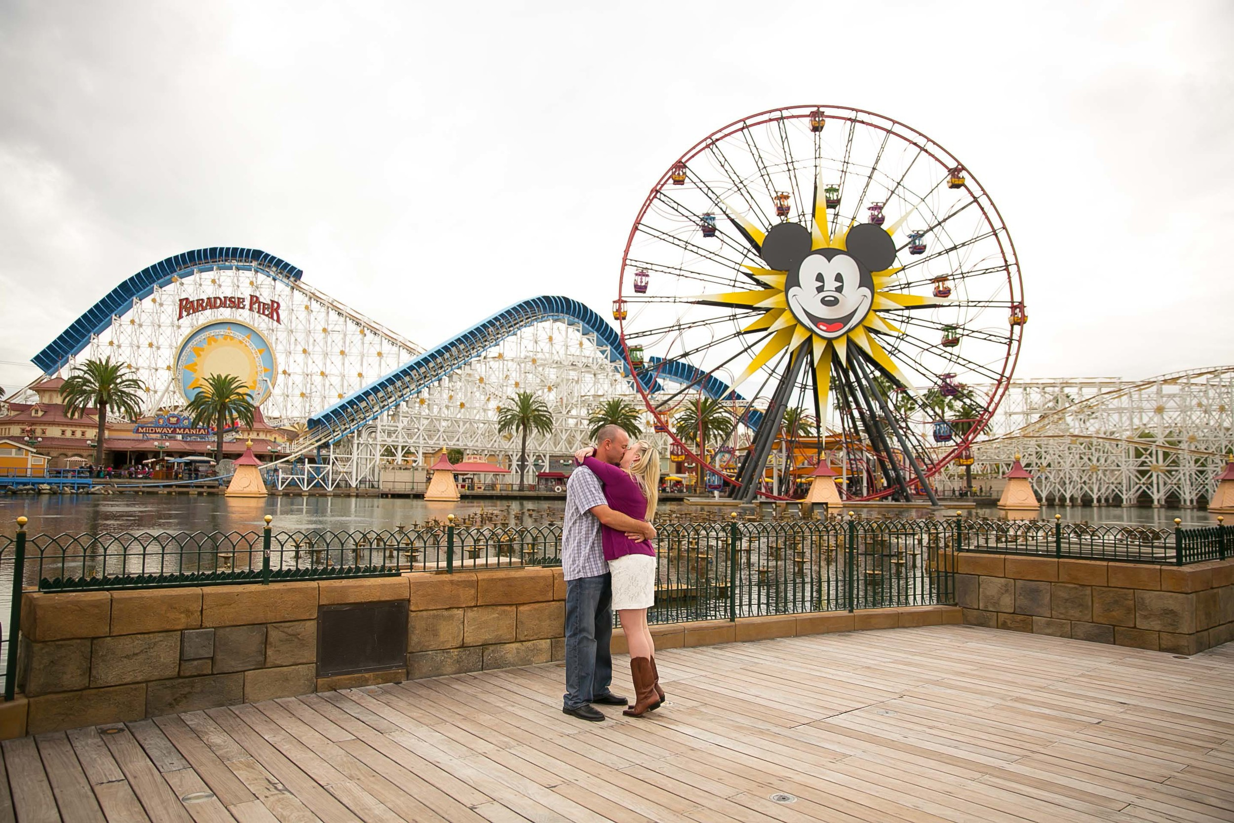 disneyland, california adventure, mickey mouse, ferris wheel, paradise pier, honeymoon, engagement, love, happy, happiest place on earth, los angeles wedding photography, chris holt photography