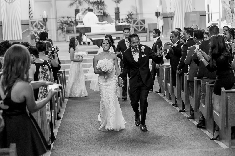 Happy Couple after ceremony at St Paul the Apostle Catholic Church