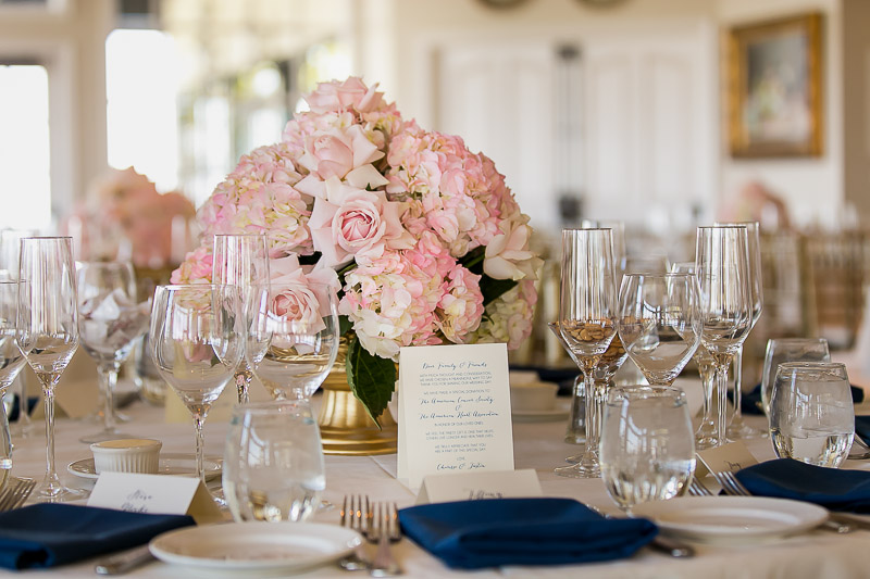 floral reception centerpiece at summit house restaurant