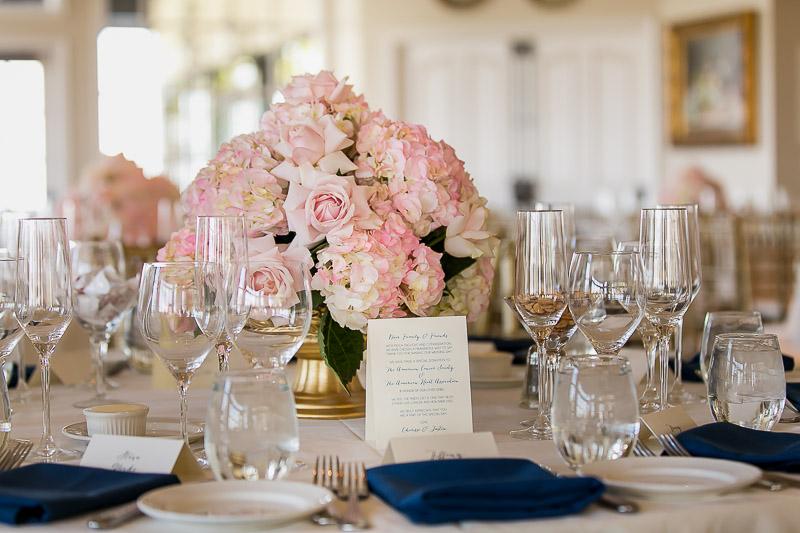 floral reception centerpiece at summit house restaurant