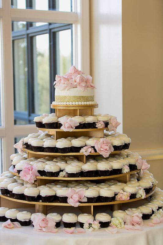 wedding cupcake tower at Summit House Restaurant in Fullerton, CA