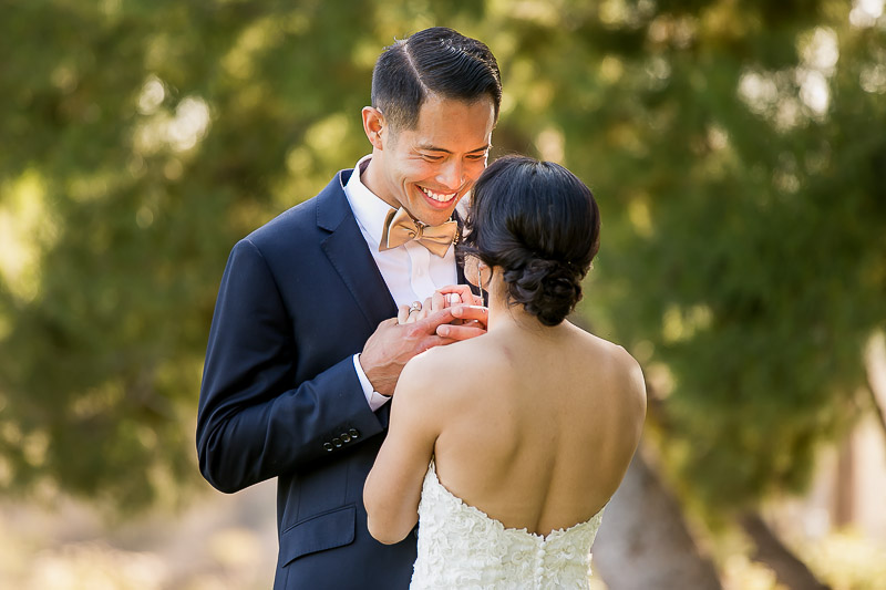 Happy Groom with his bride at Summit House Restaurant in Fullerton, CA