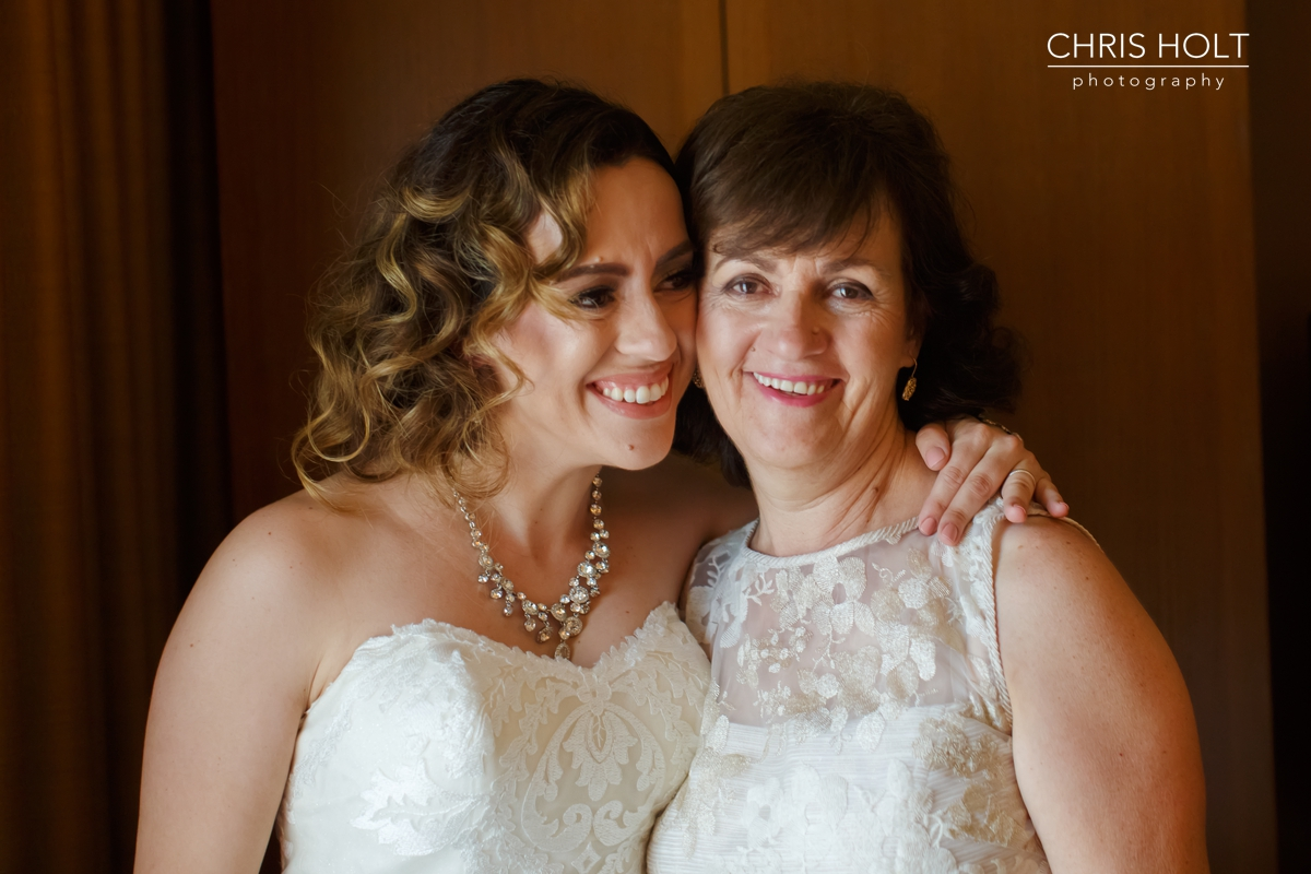 WEDDING, BRIDE, GREEK, GREEK ORTHODOX, SANTA BARBARA GREEK ORTHODOX CHURCH, SANTA BARBARA, HYATT, MOTHER AND BRIDE, PORTRAIT, SMILING, RELAXED, AUTHENTIC, CANDID