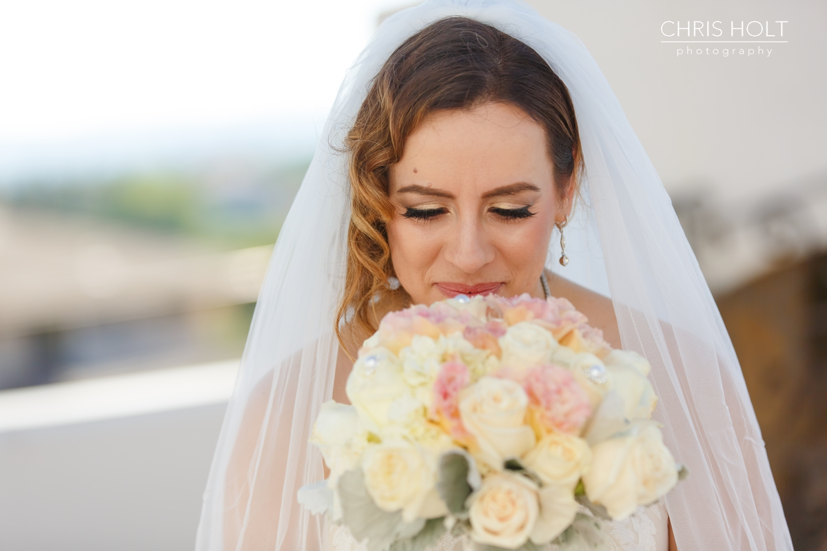 WEDDING, BRIDE, GREEK, GREEK ORTHODOX, SANTA BARBARA GREEK ORTHODOX CHURCH, SANTA BARBARA, HYATT, FLORAL, BOUQUET, VEIL, BEAUTIFUL, CANDID, ROMANTIC