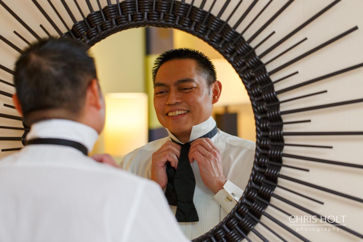 pacific palms, golf club, wedding venue, groom, preparation, getting ready, portrait