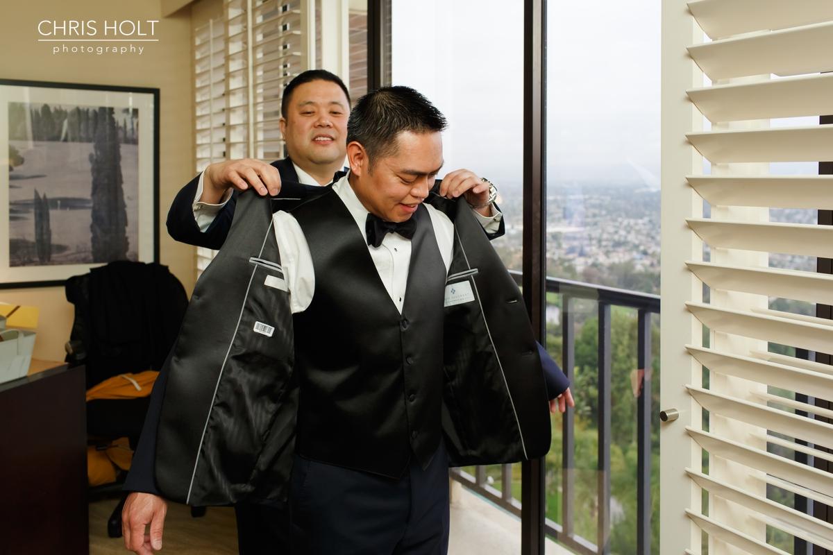 pacific palms, golf club, wedding venue, groom, preparation, getting ready, portrait, best man, bridal party