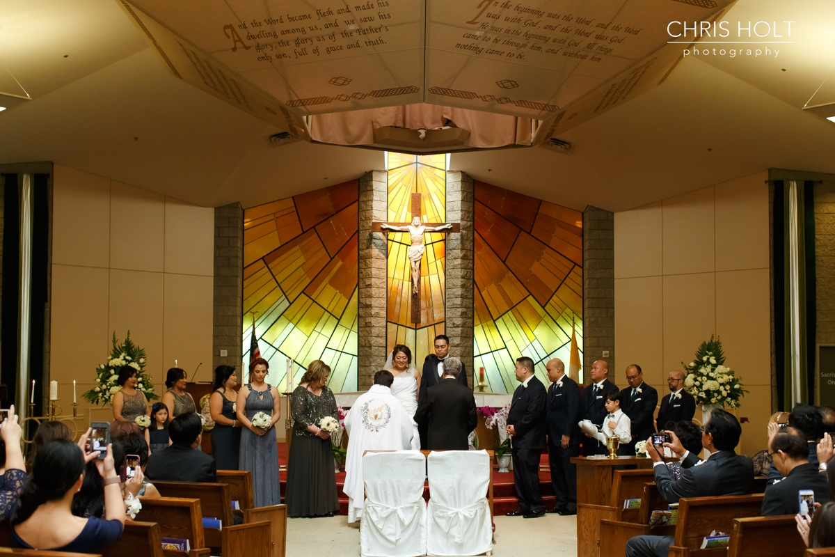 church, ceremony, catholic, priest, wedding venue, St Lorenzo, family, sponsors, cord, coins, bible, unity candle, altar, cross, husband, wife