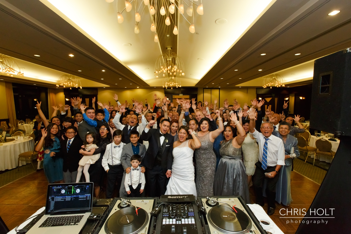 reception, venue, ballroom, dance floor, dancing, group shot, guests
