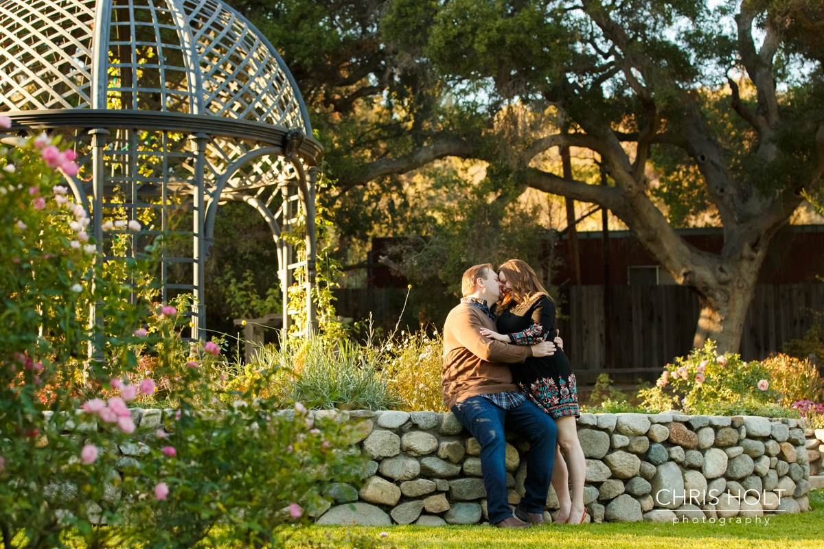 descanso gardens, floral, engagement session, reflection, trellis, gazebo, backlight, sunlight, sunset, couple, romantic, portraits, garden, happy, love