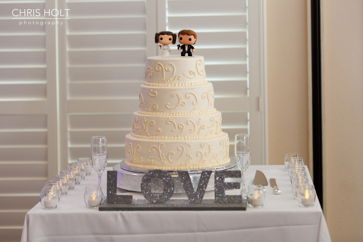 wedding, california country club, whittier, wedding venue, reception, local, floral, centerpieces, cake, bakery, place cards, star wars, cake topper, wedding wire, the knot