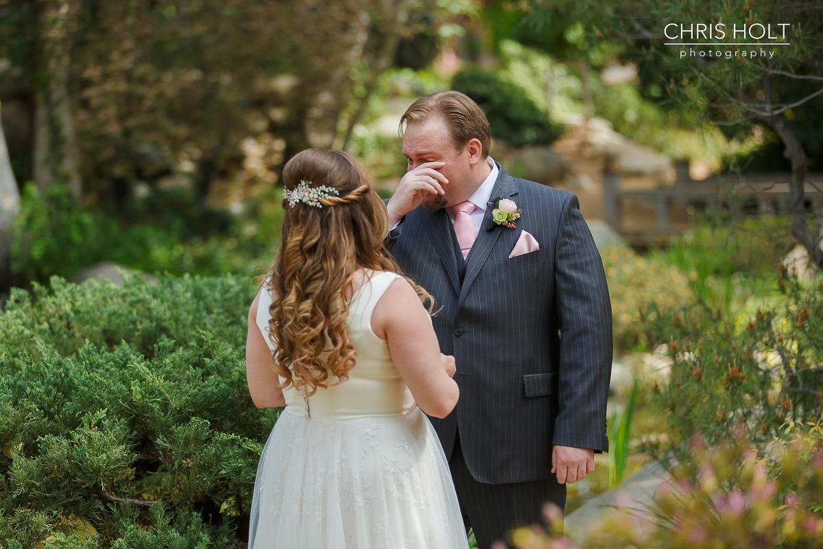 Emotional groom during wedding first look