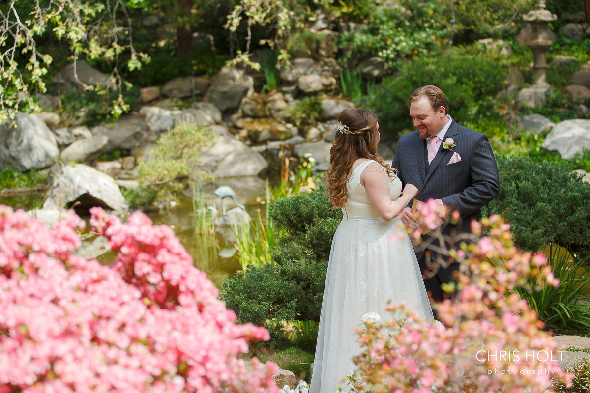 Wedding First Look with bride and groom at Storrier-Stearns Japanese Garden
