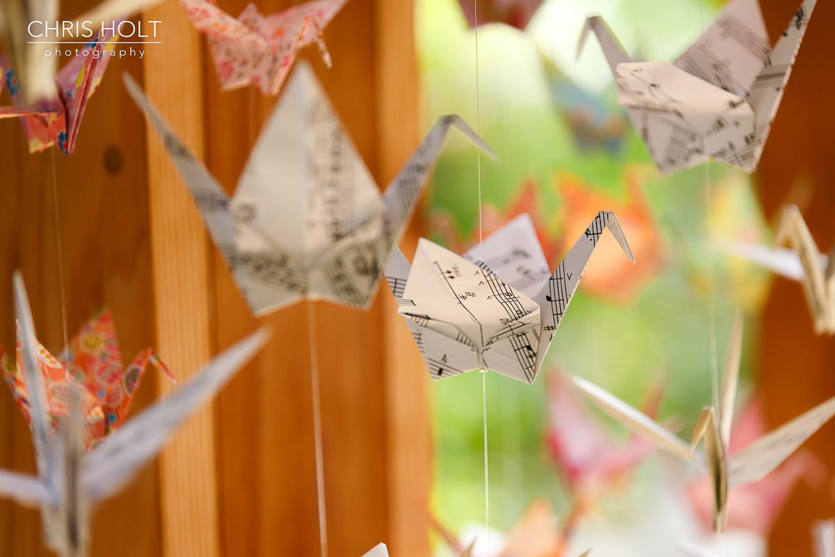 Handmade origami cranes at wedding at Storrier Stearns Japanese Garden