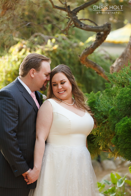 Happy Bride and Groom Profile at Storrier-Stearns Japanese Garden