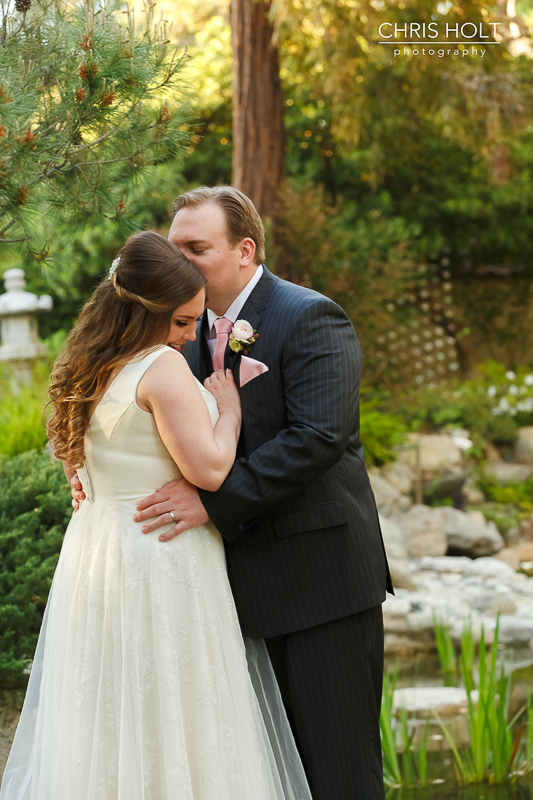 Bride and Groom happy romantic portraits at Storrier-Stearns Japanese Garden