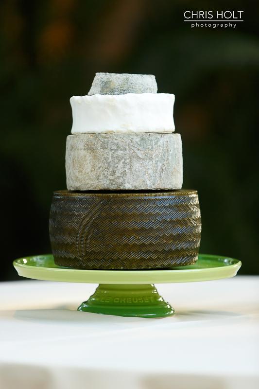 Cheese wheel cake on stand by Milkfarm LA at Storrier-Stearns Japanese Garden