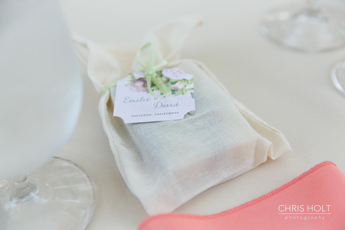 Handmade DIY wedding giveaways on guest table at Storrier-Stearns Japanese Garden
