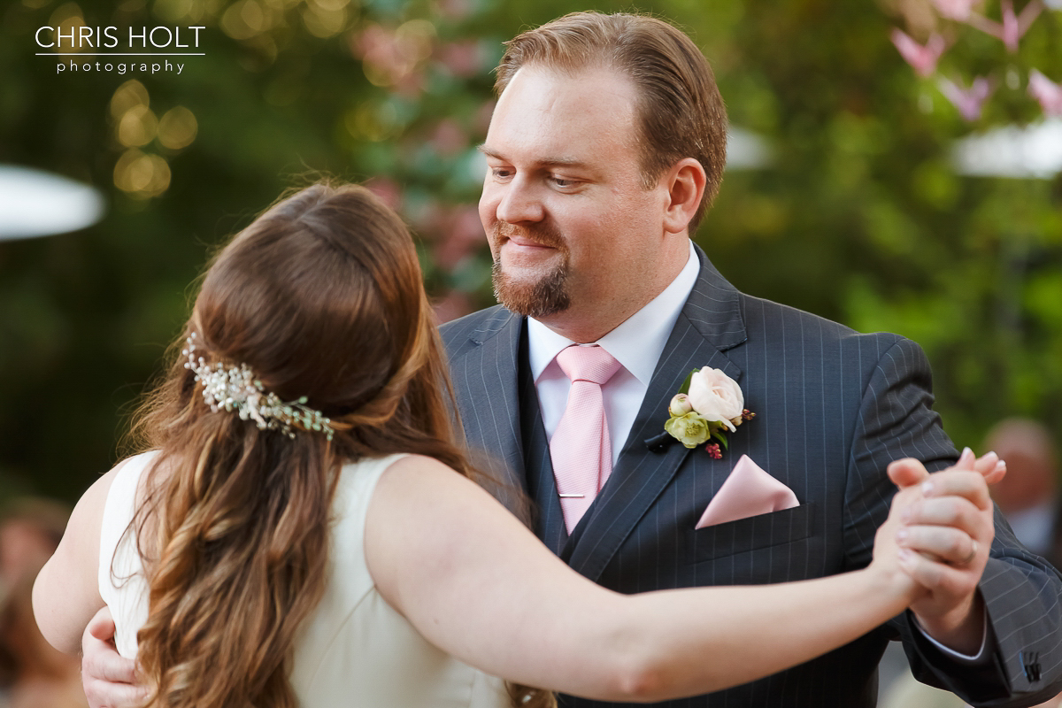 Groom and Bride first dance outdoor at Storrier-Stearns Japanese Garden