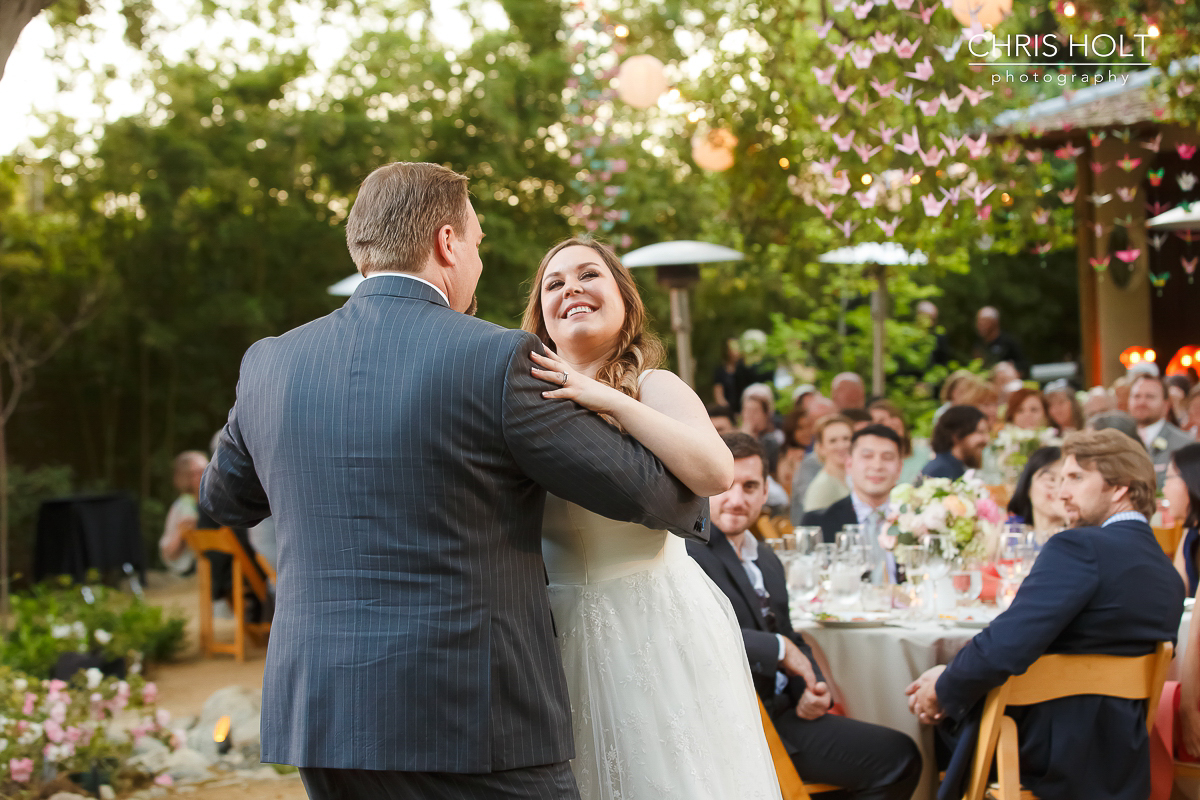Bride and Groom first dance at Storrier-Stearns Japanese Garden