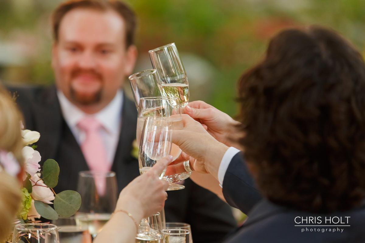 Outdoor wedding celebration at Storrier-Stearns Japanese Garden