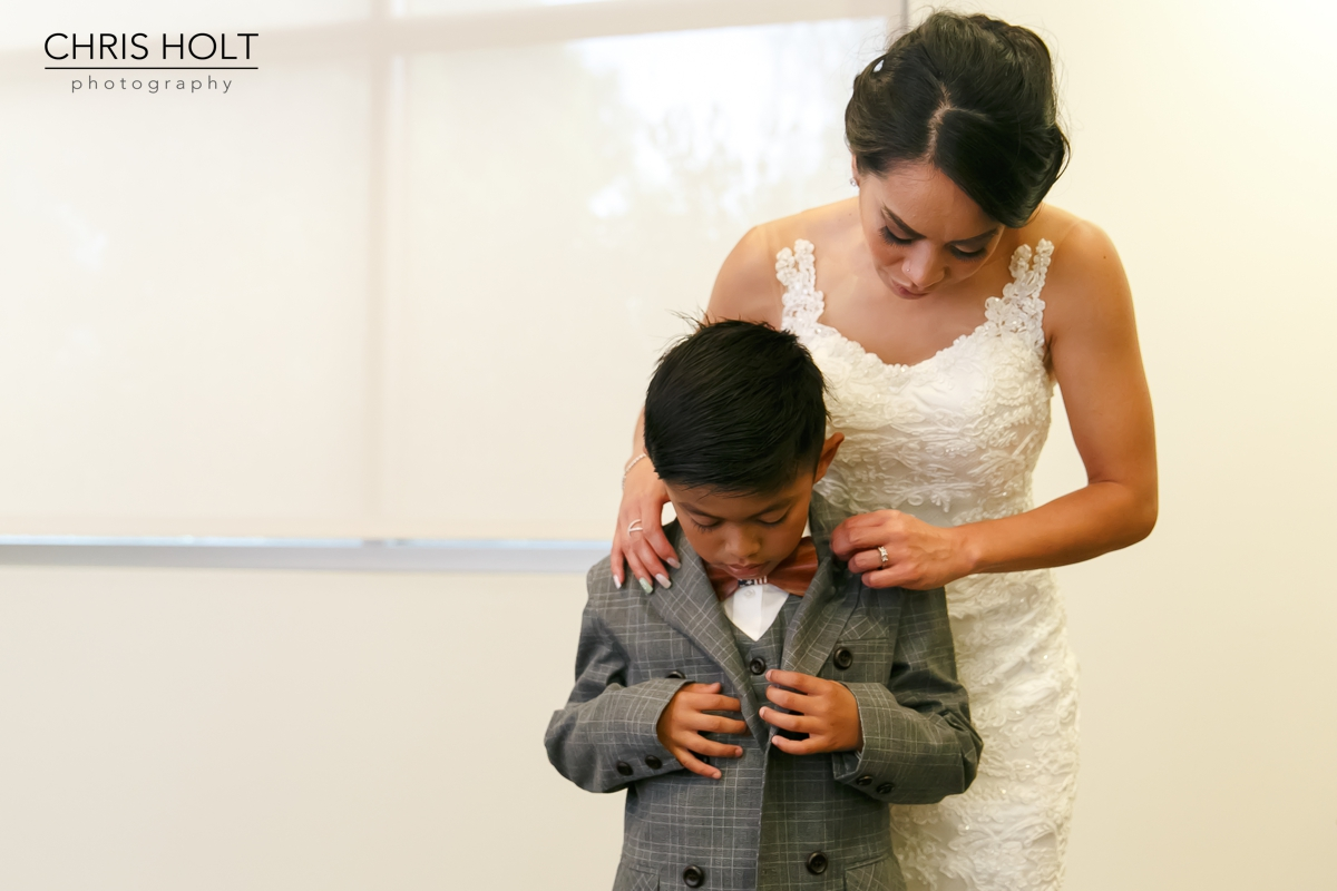 bride getting her son ready