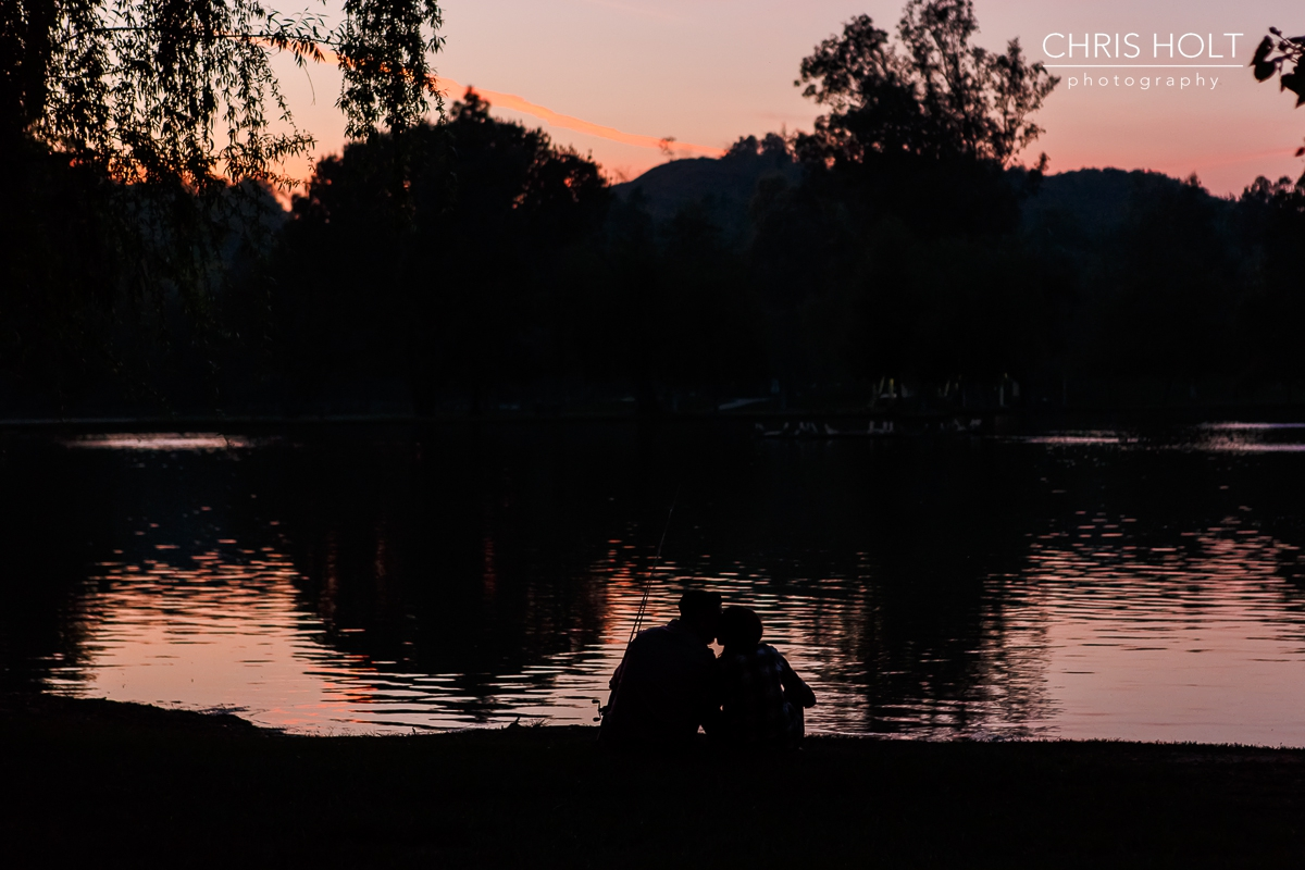 Silhouette of Sabrina and Leo for their wilderness Carbon Canyon Engagement Session