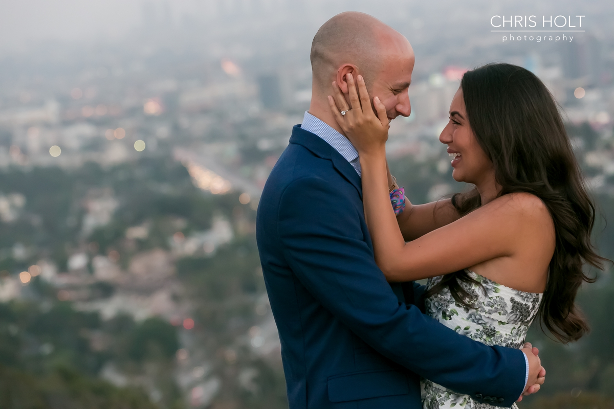 Lawrence just proposed to Melissa at the Hollywood Bowl Overlook in Los Angeles