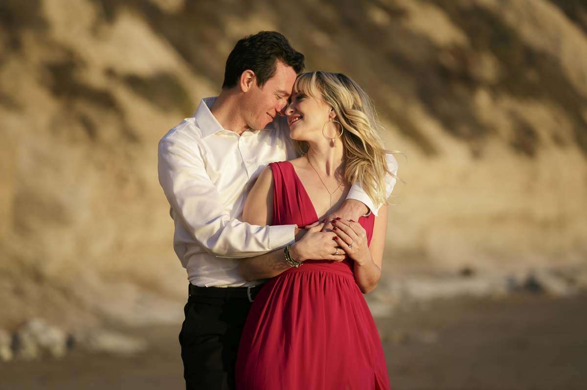 Melissa and Adam in Santa Barbara for their romantic beach engagement session