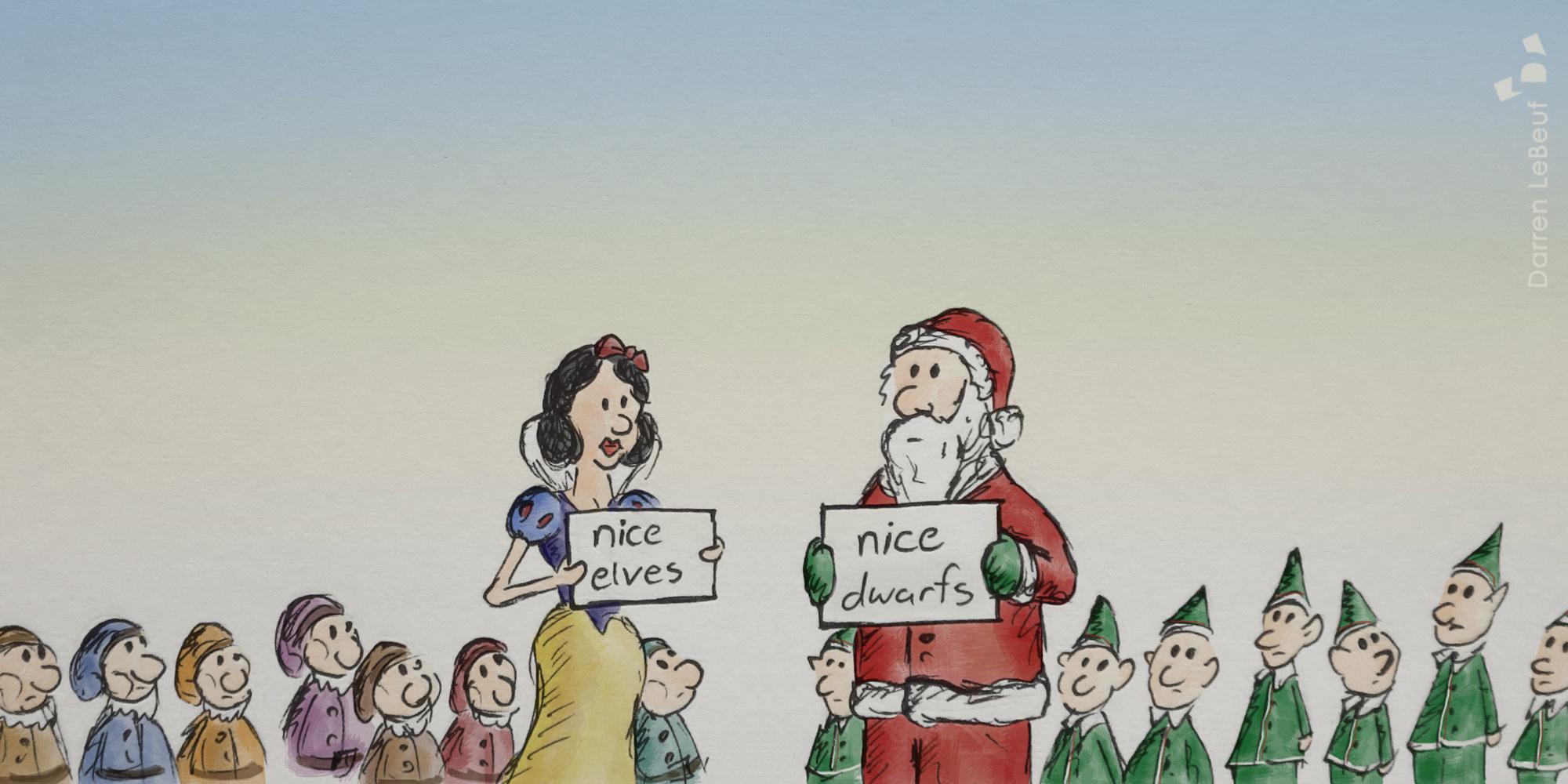 santa clause, elves, snow white, dwarfs, by Darren LeBeuf