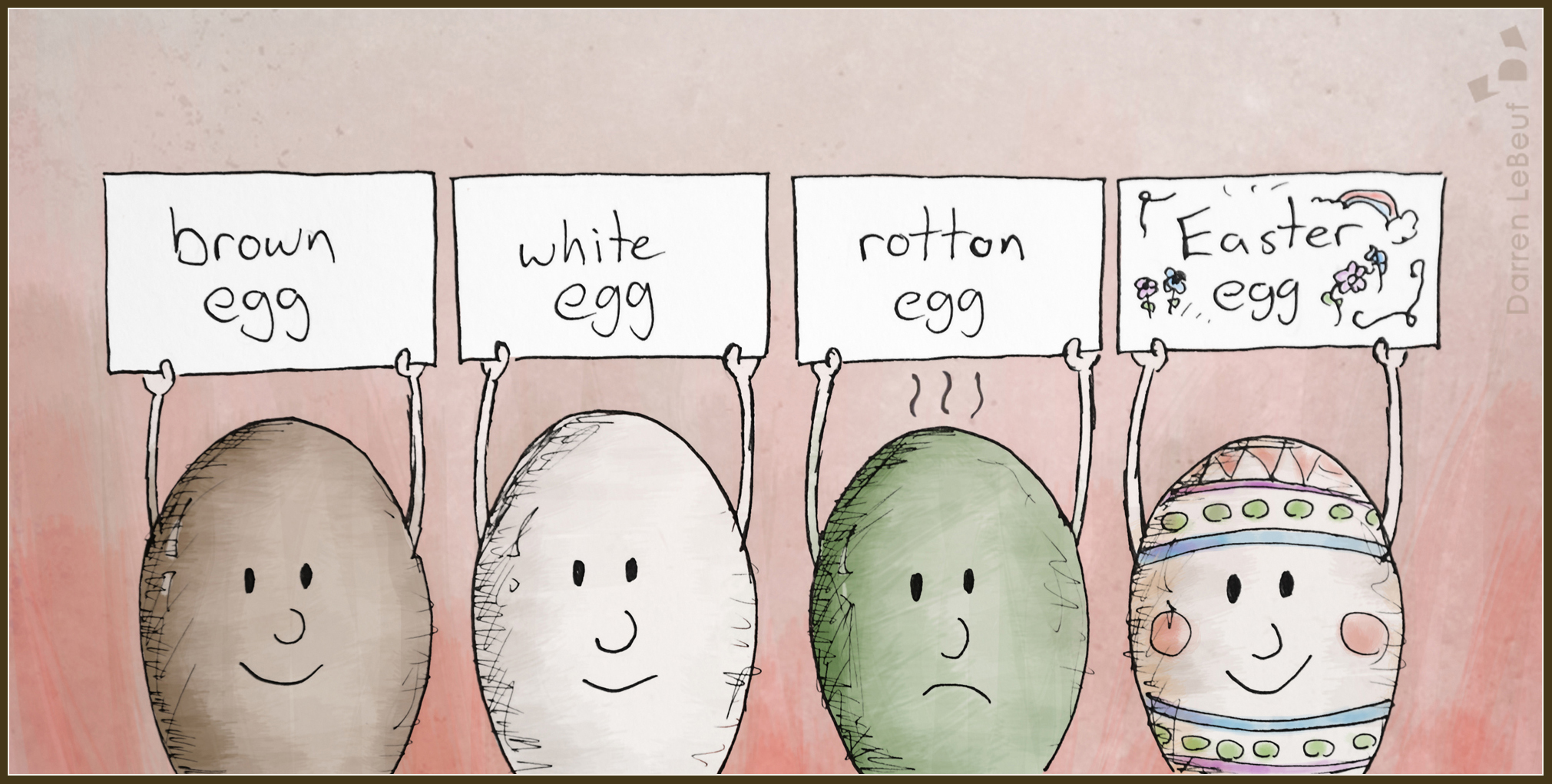 Easter cartoon - featuring a cool group of eggs - by Darren Lebeuf