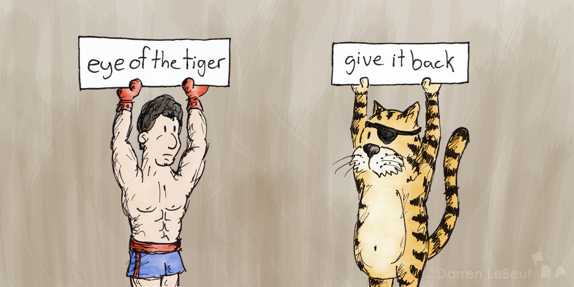 Rocky Balboa and the tiger in question - the Land of Le Beef, by Darren Lebeuf