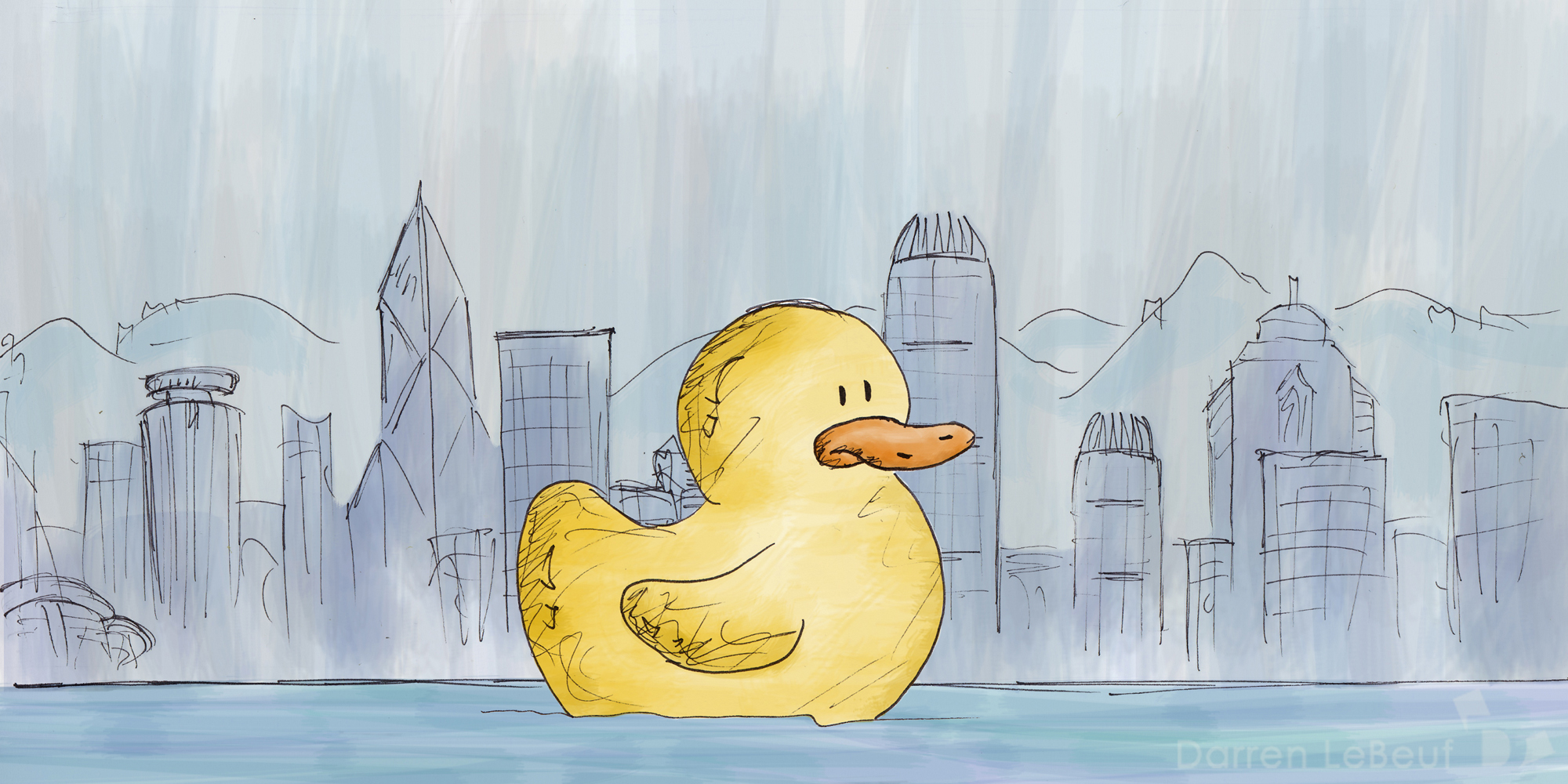 Hong Kong Rubber Duck - as seen by the Land of Le Beef, by Darren Lebeuf