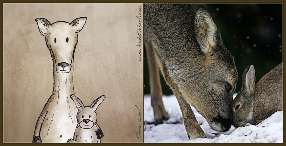 Unlikely animal best friends - deer and rabbit. The Land of Le Beef comic strip, by Darren Lebeuf