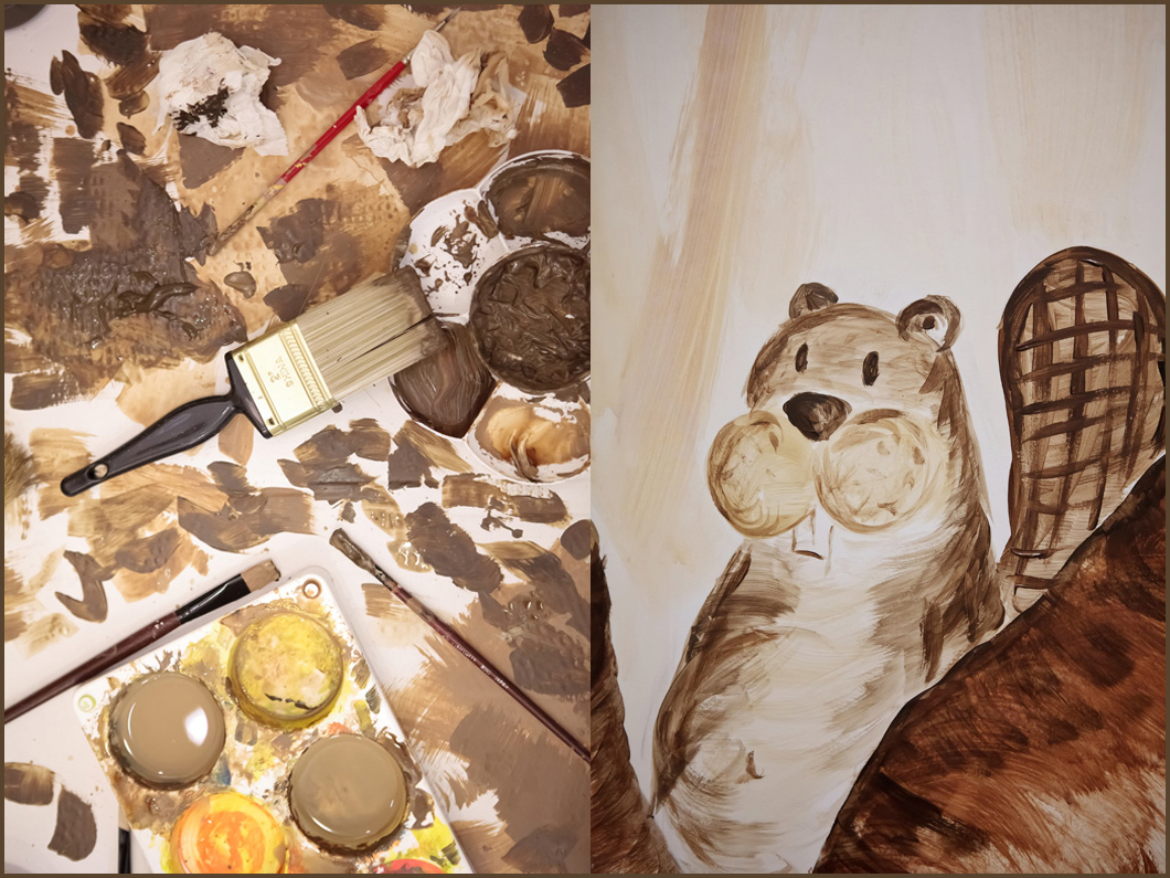 paint, a paintbrush, and a beaver...