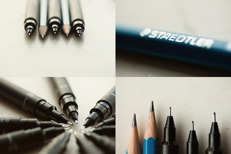 The actual pens and pencils in all their glory...
