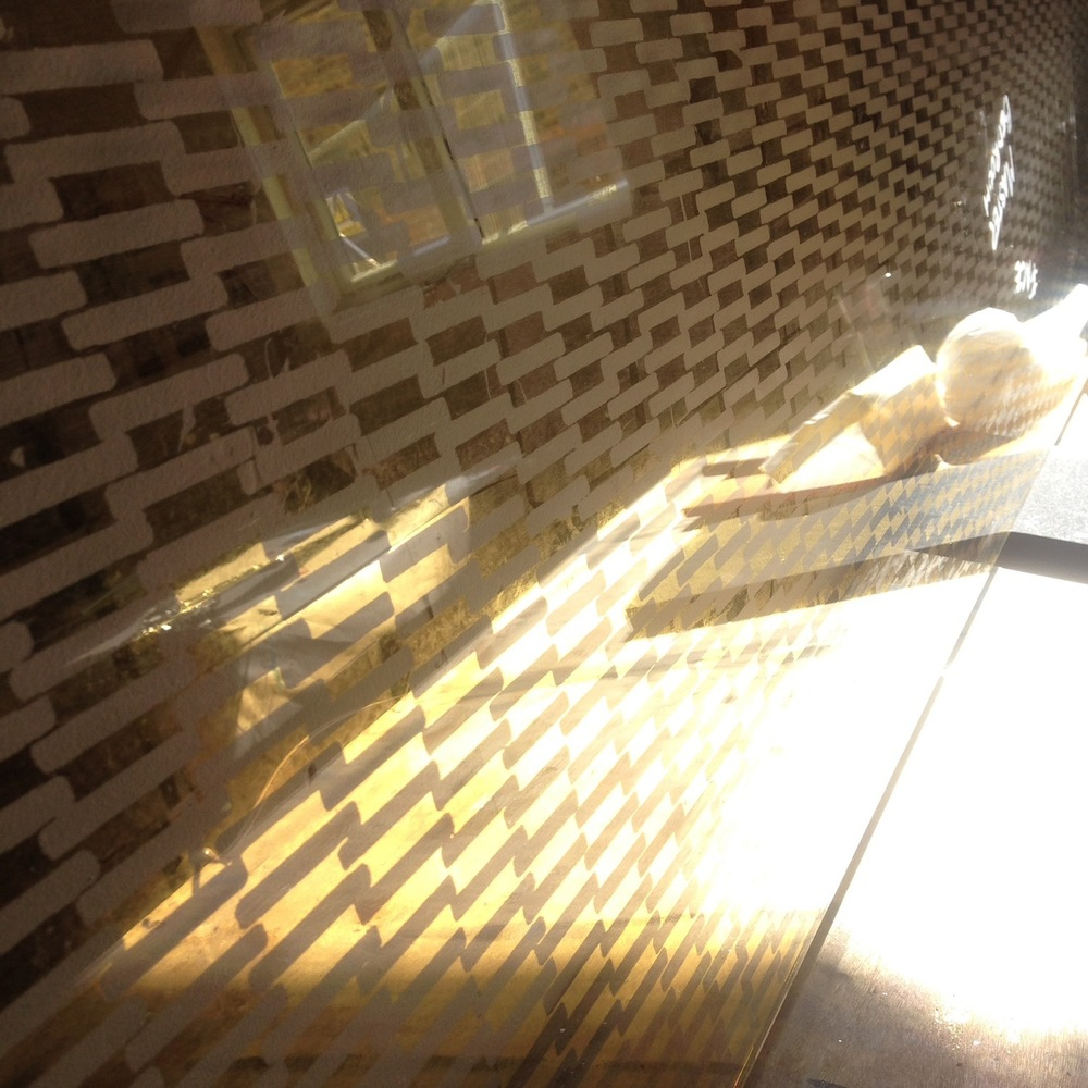 Making some of our Mesh verre églomisé to be used as privacy screens for London residence.