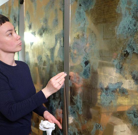 Copper verdigris and gold leaf verre églomisé artworks