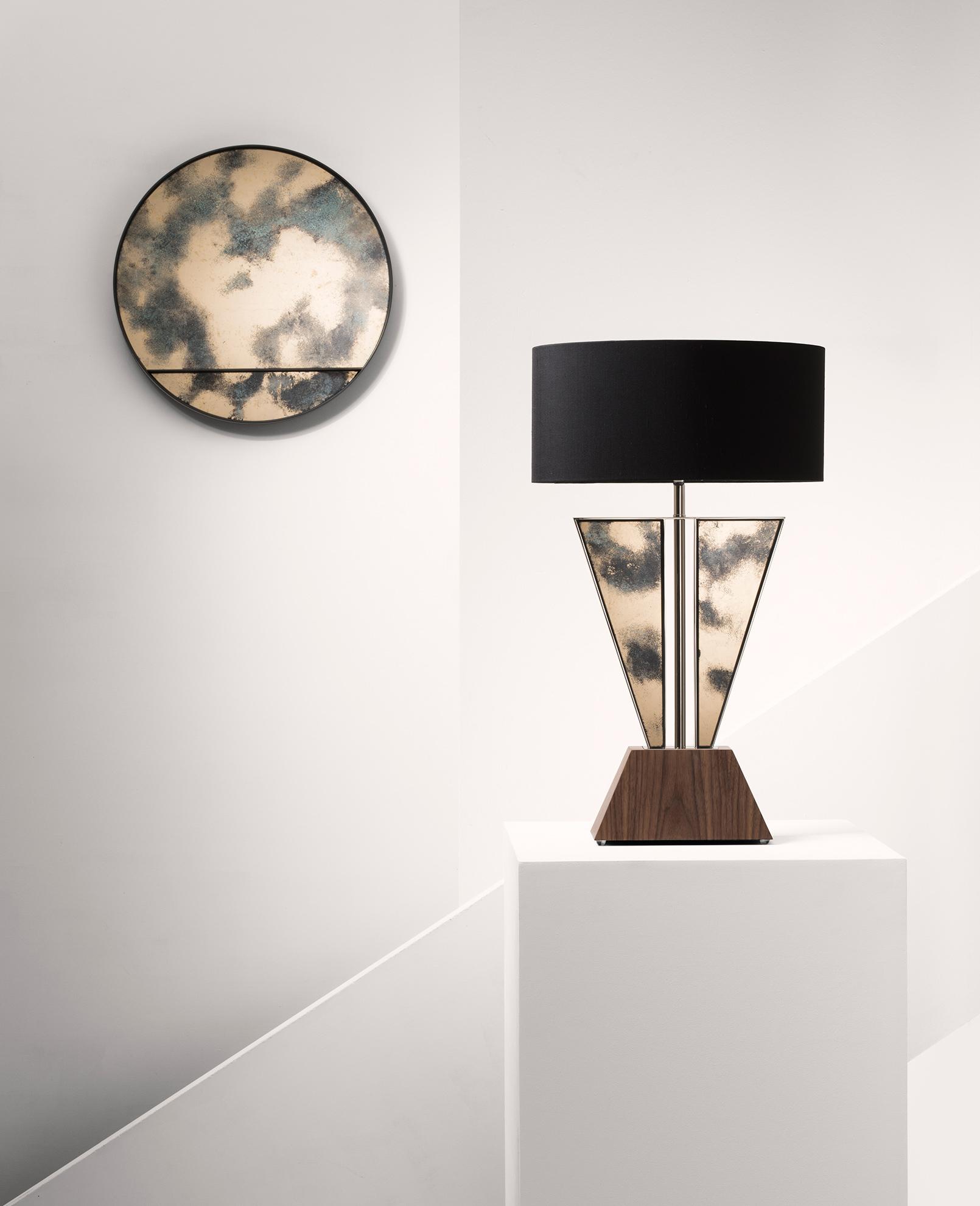 APEX lamp and ORBIT reflector shown here in  Green of Grey  verre églomisé design.