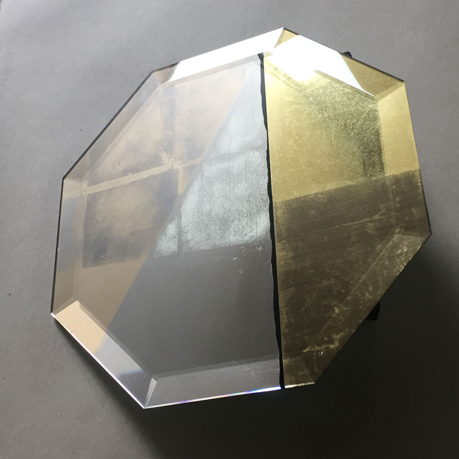 Octagonal bevelled glass hand gilded with 3 types of gold