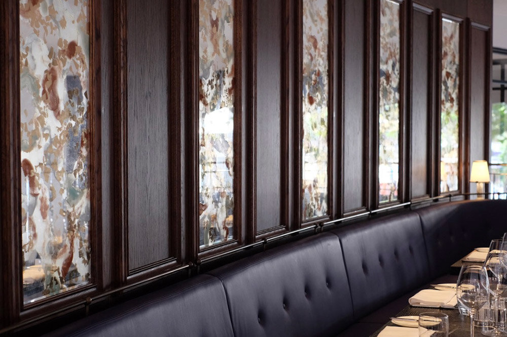 Decorative mirrors for the Lobby Bar and Indigo Restaurant of One Aldwych, London.