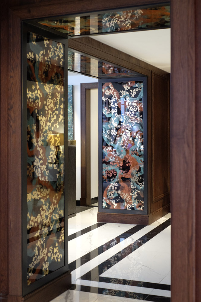 Decorative mirrors for the Lobby Bar and Indigo Restaurant of One Aldwych, London