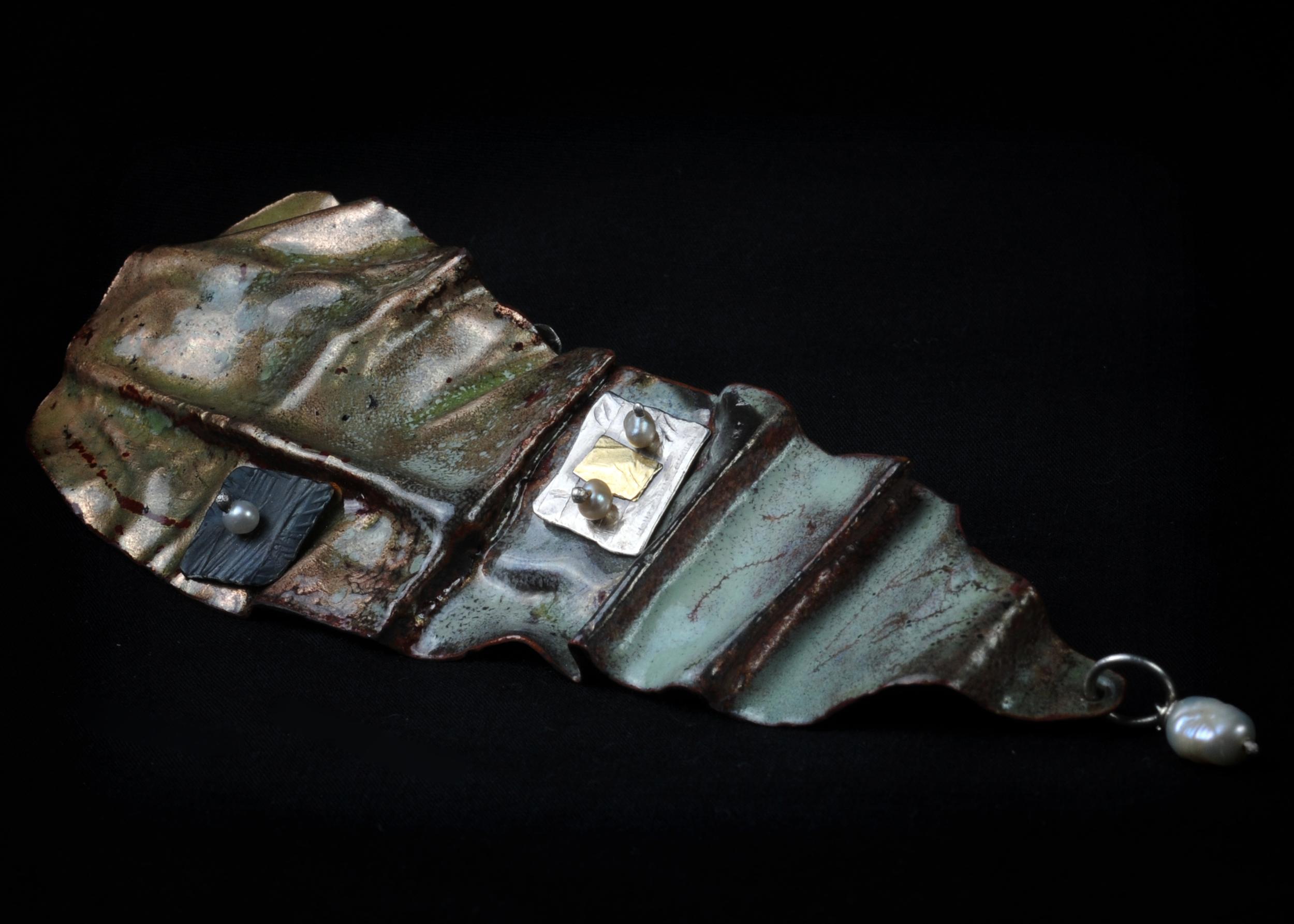Pendant- torch fired enamel on fold formed copper, steel, 18kgold, ss, pearl $295